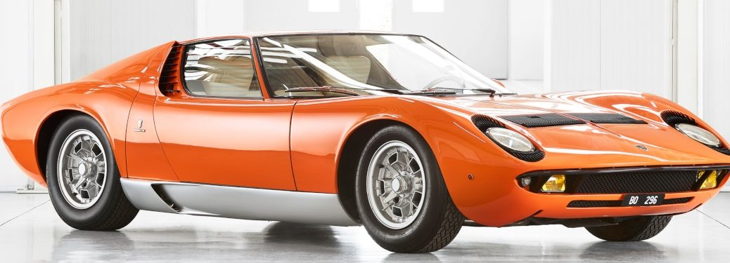 Lamborghini Miura from The Italian Job orange side front view