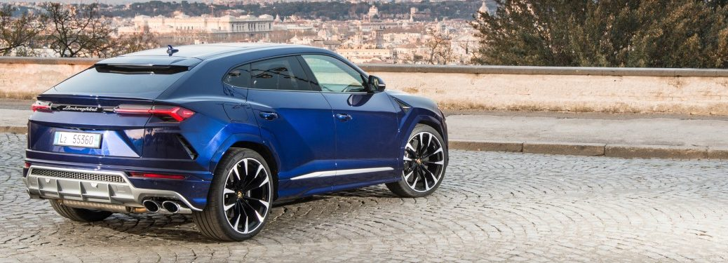 Lamborghini Urus blue back side view