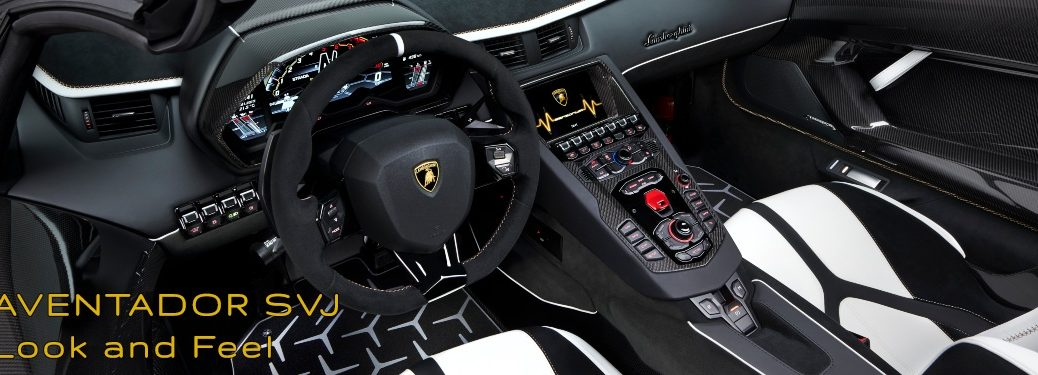 Lamborghini Aventador SJV Look and Feel Steering Wheel and Center Console Black and White