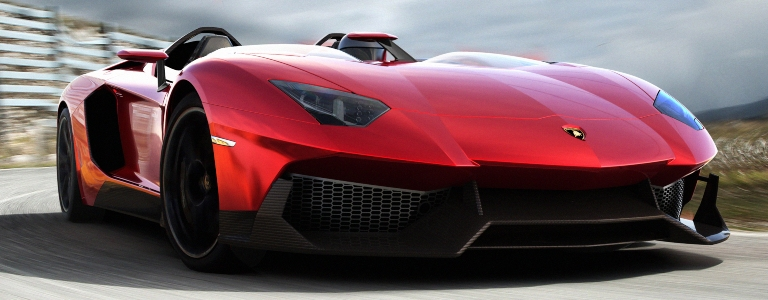 Lamborghini Aventador J red front view on a track
