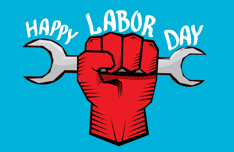 Happy Labor Day title and a graphic of a hand holding a wrench