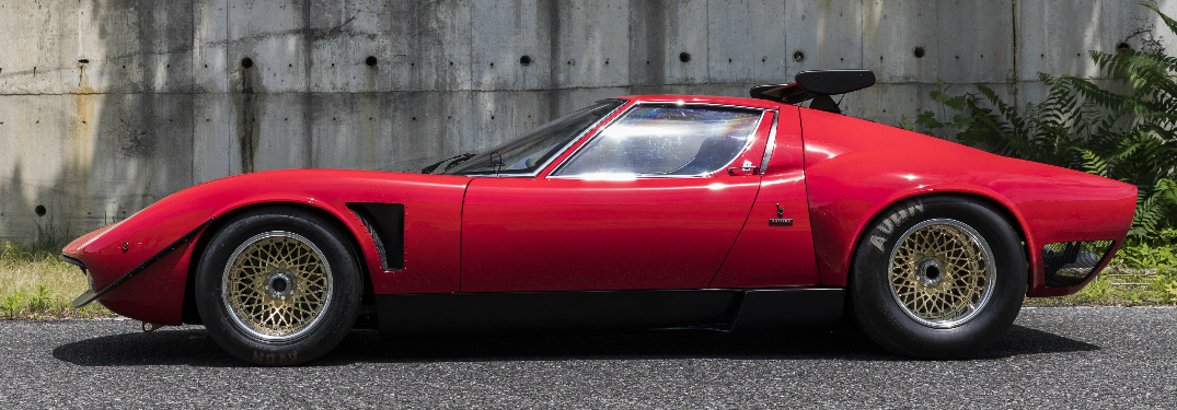 Side view of classic red Lamborghini Miura