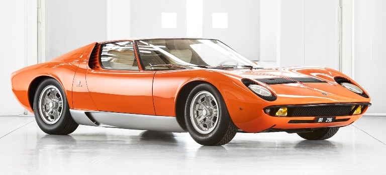 Lamborghini Miura orange side front view