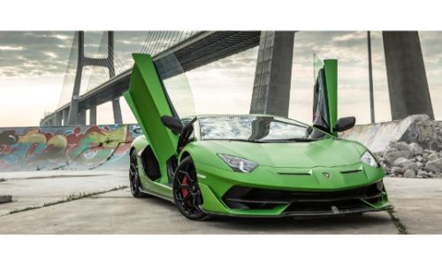 2020 Lamborghini Aventador SVJ green paint wing doors up showing bridge overhead and spray painted wall