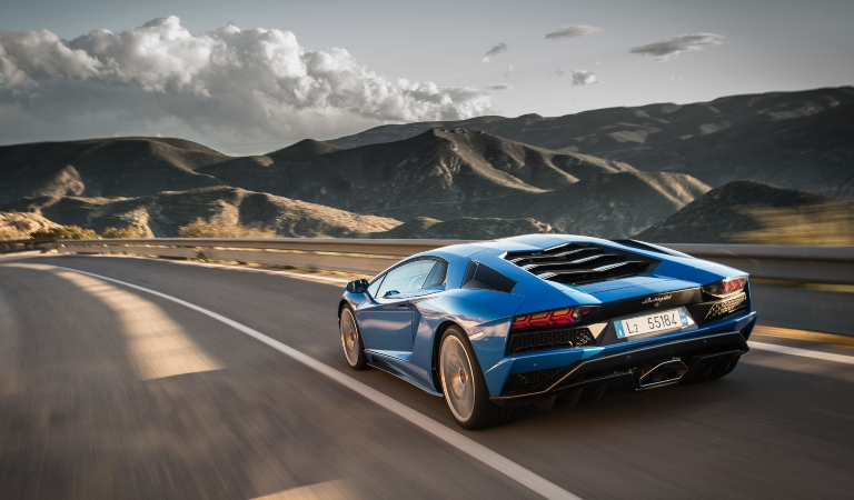 Lambroghini Aventador S blue back view