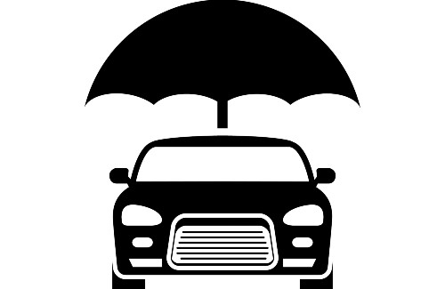 graphic of a car with an umbrella over it