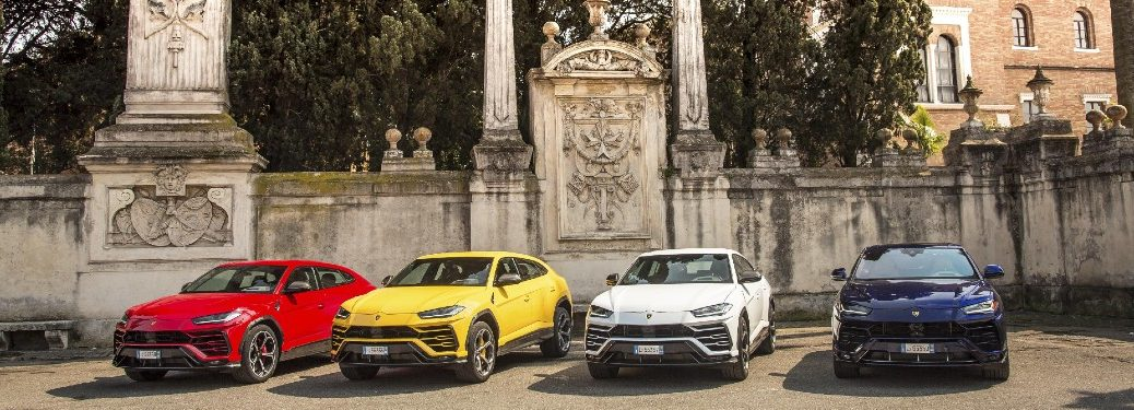 four 2021 lamborghini urus models lined up in italy