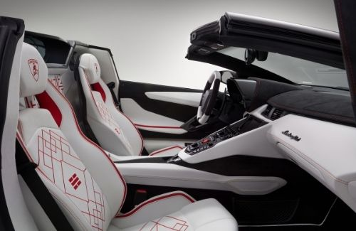 Lamborghini Aventador S Roadster Korean View of Seats, Dashboard, Center Console, and Steering Wheel from the right-side