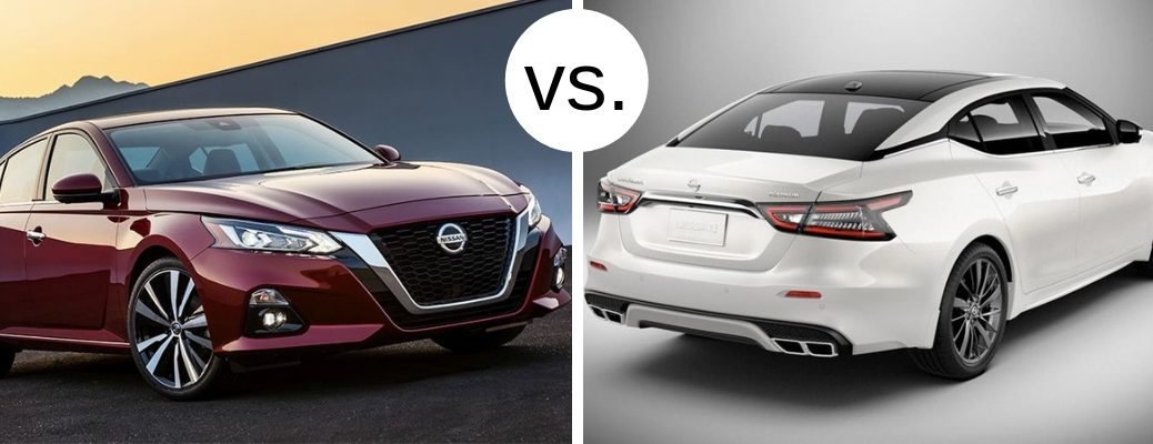 Comparison photo between 2019 Nissan Altima and 2019 Nissan Maxima