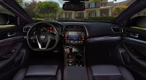 Wide view of 2020 Nissan Maxima steering wheel and dashboard