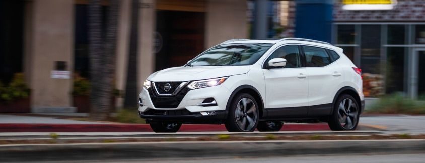 Exterior view of a white 2020 Nissan Rogue Sport