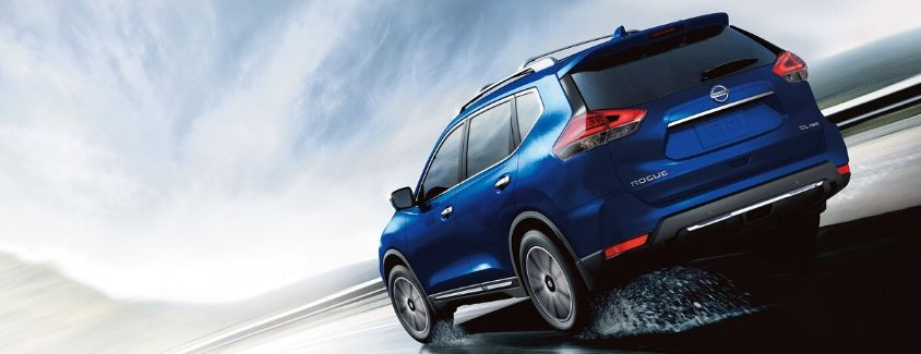 Exterior view of a blue 2020 Nissan Rogue