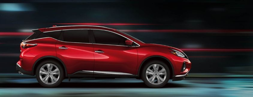 Exterior view of a red 2020 Nissan Murano