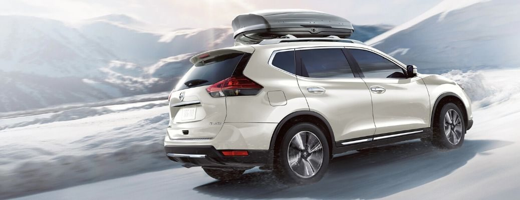 Exterior view of a white 2020 Nissan Rogue