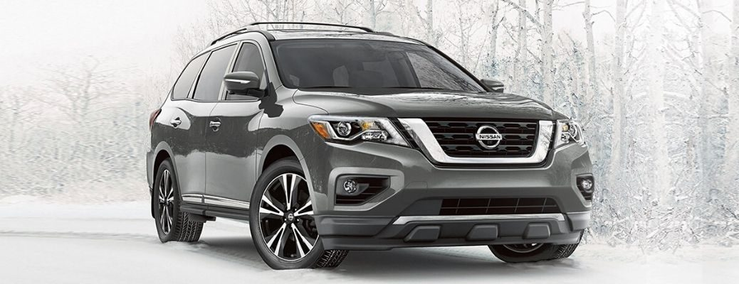 Exterior view of a gray 2020 Nissan Pathfinder