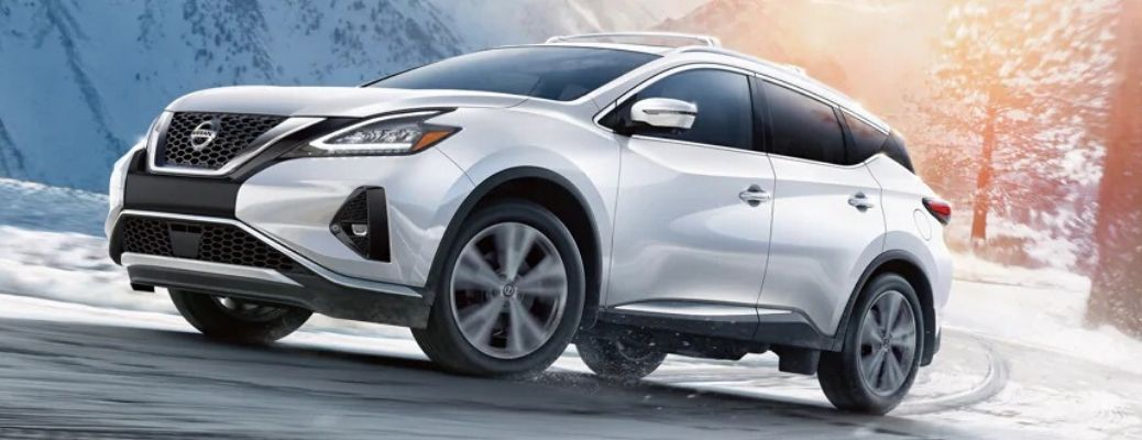 Exterior view of a silver 2020 Nissan Murano