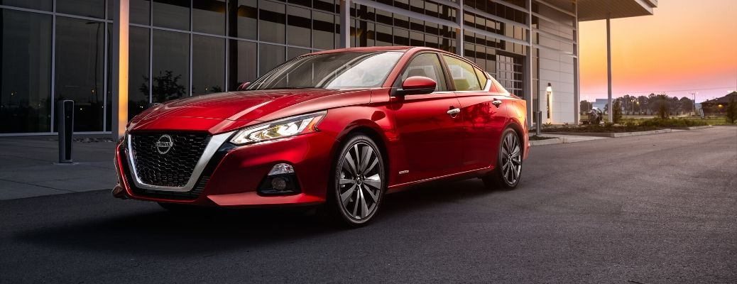 Exterior of a red 2020 Nissan Altima