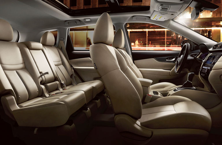 Interior view of the seating available inside a 2020 Nissan Rogue