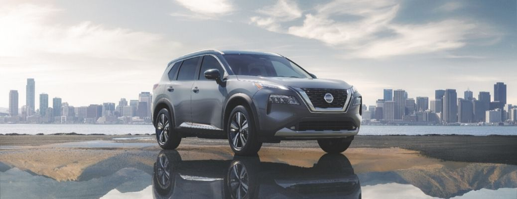 Exterior view of a gray 2021 Nissan Rogue