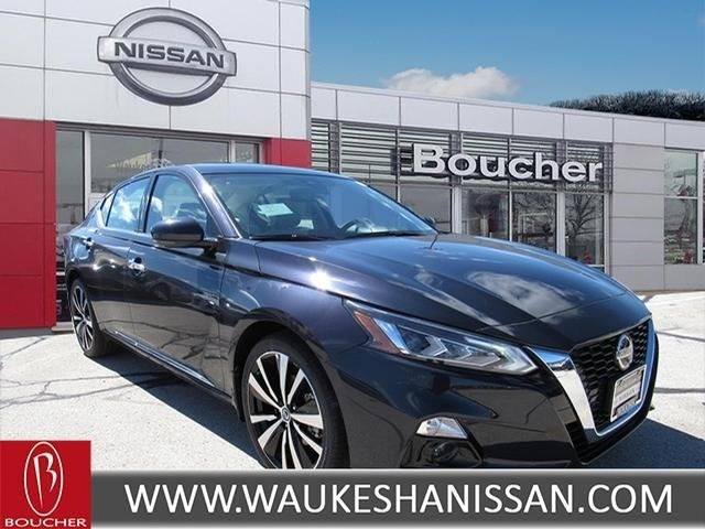 Exterior view of a black 2019 Nissan Altima at Boucher Nissan of Waukesha