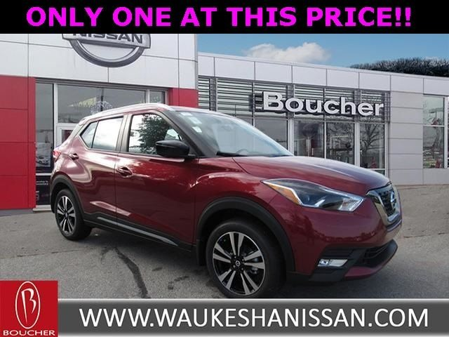 Exterior view of a red 2019 Nissan Kicks at Boucher Nissan of Waukesha
