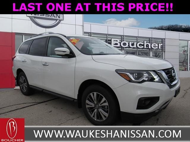Exterior view of a white 2019 Nissan Pathfinder at Boucher Nissan of Waukesha