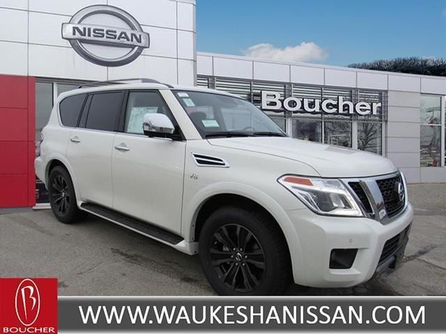 Exterior view of a white 2020 Nissan Armada at Boucher Nissan of Waukesha