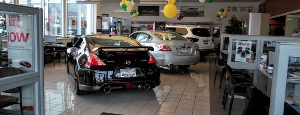 Interior view of the sales floor at Boucher Nissan of Waukesha