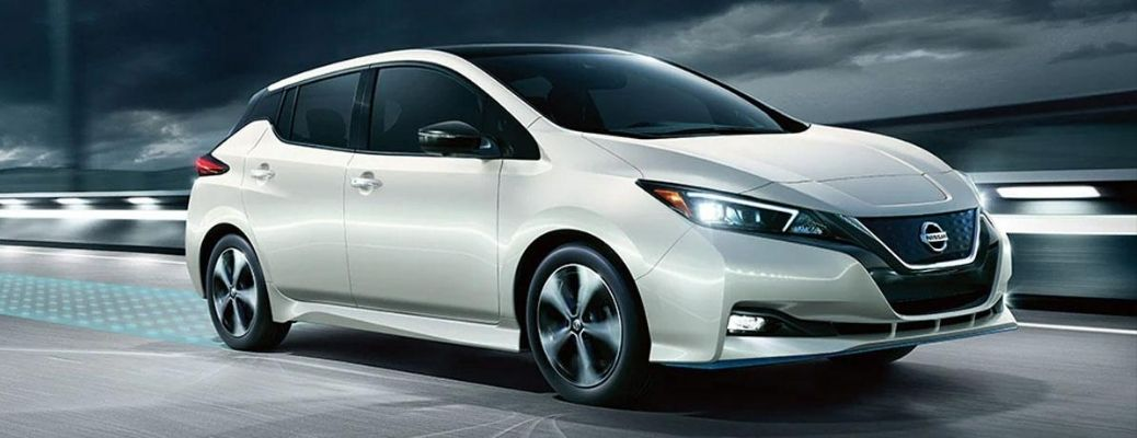 Exterior view of a white 2020 Nissan LEAF