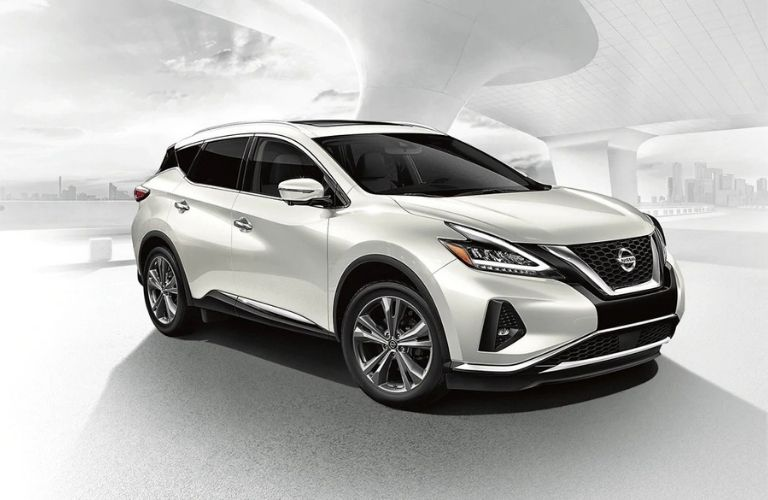 Exterior view of a white 2020 Nissan Murano