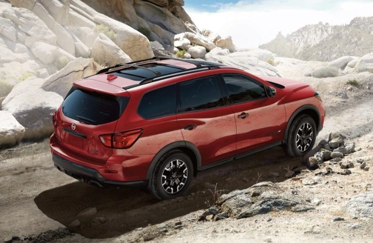 Exterior view of a red 2020 Nissan Pathfinder