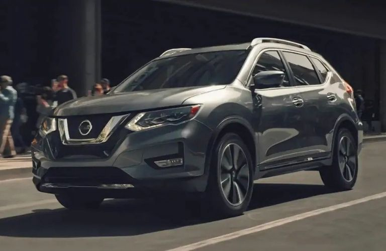 Exterior view of a gray 2020 Nissan Rogue