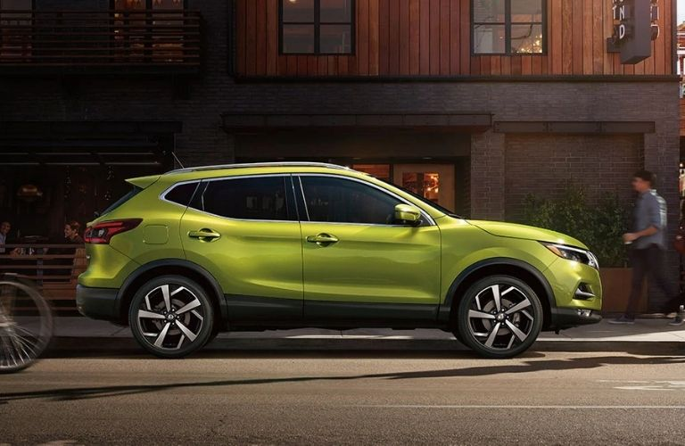 Exterior view of a lime green 2020 Nissan Rogue Sport