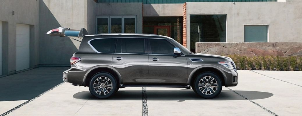 Exterior view of a gray 2020 Nissan Armada with the rear liftgate open