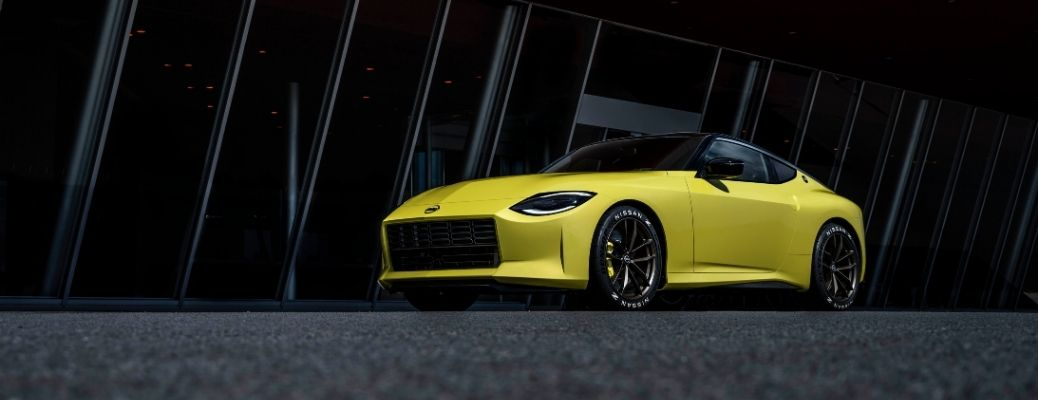 Exterior view of a yellow all-new Nissan Z Proto