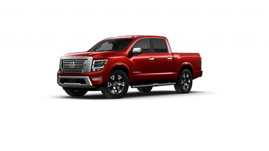 2021 Nissan TITAN in Cardinal Red color