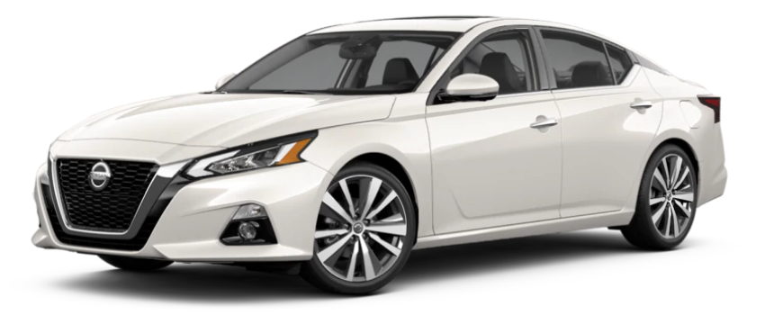 A 2021 Nissan Altima in Pearl White TriCoat color