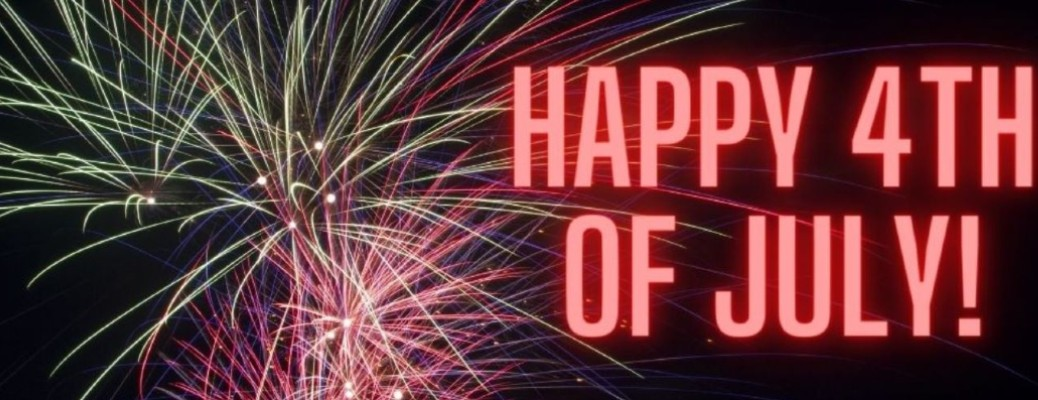 Happy 4th of July written next to some colorful fireworks with a black background