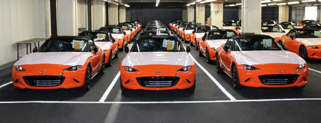 Group of 30th Anniversary Mazda Miata models in production