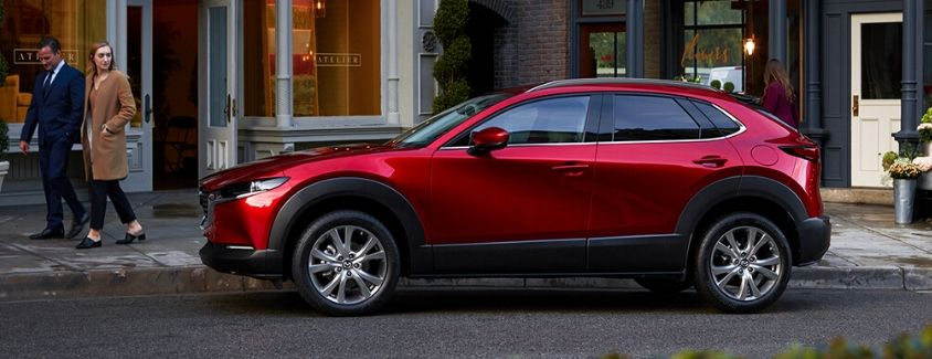 Exterior view of a red 2020 Mazda CX-30