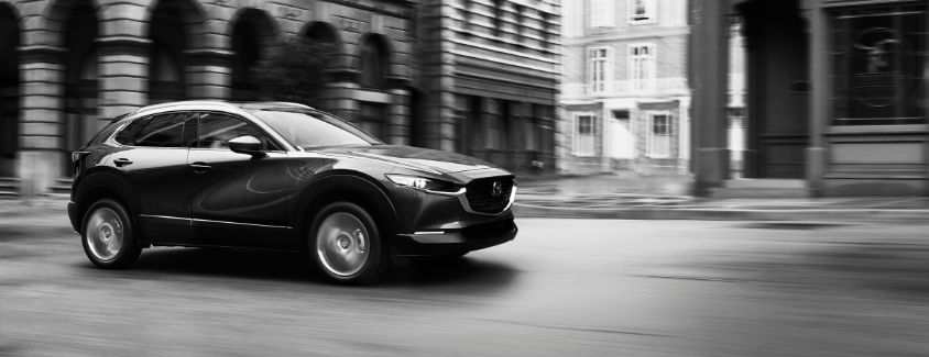 Black and white exterior view of a 2020 Mazda CX-30