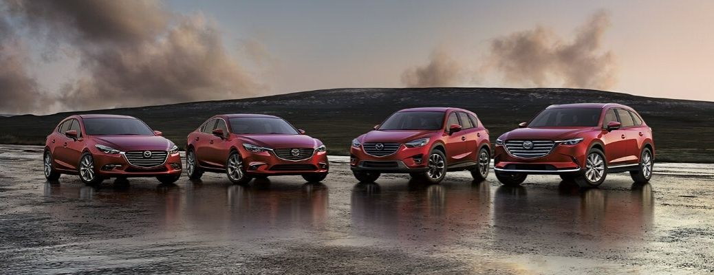 Exterior view of four 2020 Mazda models