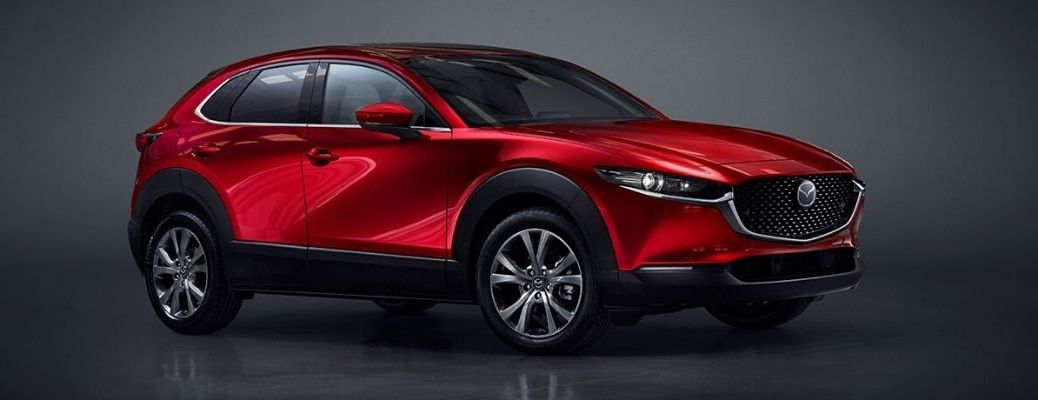 Exterior view of a red 2020 Toyota Mazda CX-30