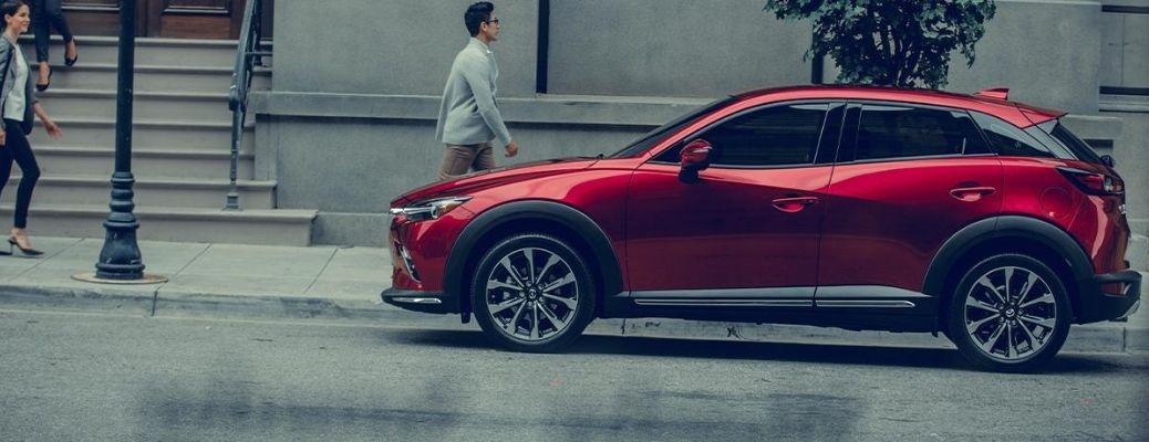 Exterior view of a red 2020 Mazda CX-3