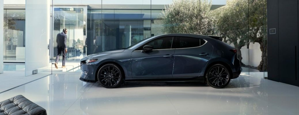 Exterior view of a gray 2021 Mazda3 Turbo
