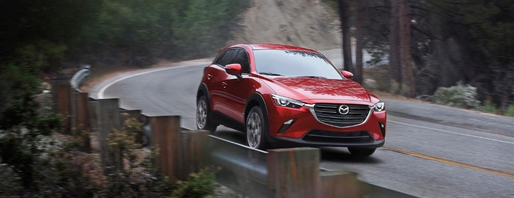 Exterior view of a red 2021 Mazda CX-3