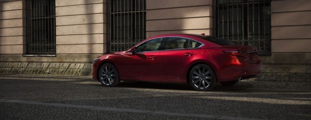 Exterior view of a red 2021 Mazda6