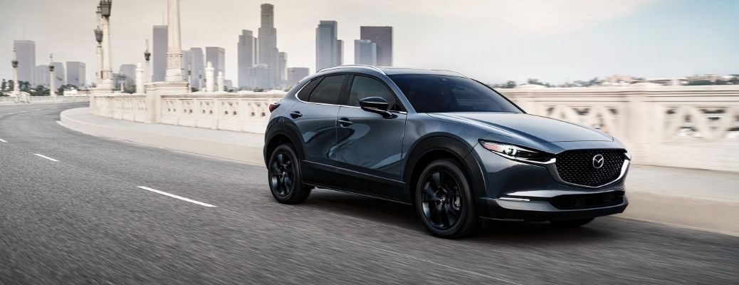 Exterior view of a gray 2021 Mazda CX-30 Turbo