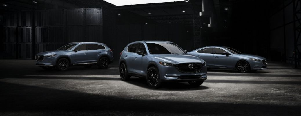 Exterior view of the three 2021 Mazda Carbon Edition models