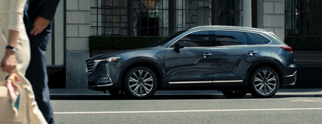 Exterior view of a gray 2021 Mazda CX-9